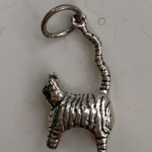 Cat and His Tail Sterling Silver Jewelry Charm